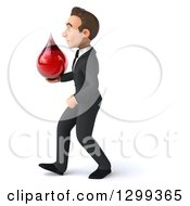Clipart Of A 3d Happy Young White Businessman Walking To The Left And Holding A Blood Drop Royalty Free Illustration