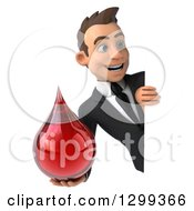 Clipart Of A 3d Happy Young White Businessman Holding A Blood Drop Around A Sign Royalty Free Illustration