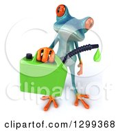 Clipart Of A 3d Turquoise Springer Frog Holding Up A Dripping Biofuel Gas Can Royalty Free Illustration