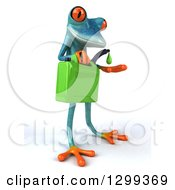 Clipart Of A 3d Turquoise Springer Frog Facing Slightly Right Catching A Droplet From A Biofuel Gas Can Royalty Free Illustration