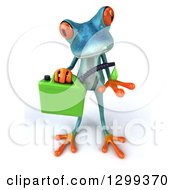 Clipart Of A 3d Turquoise Springer Frog Catching A Droplet From A Biofuel Gas Can Royalty Free Illustration