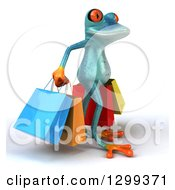 Clipart Of A 3d Turquoise Springer Frog Facing Right And Carrying Shopping Bags Royalty Free Illustration