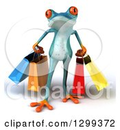 Clipart Of A 3d Turquoise Springer Frog Carrying Shopping Bags Royalty Free Illustration