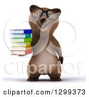 Clipart Of A 3d Bespectacled Brown Bear Holding A Stack Of Books Royalty Free Illustration