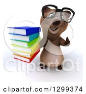 Clipart Of A 3d Bespectacled Brown Bear Holding Up A Thumb And A Stack Of Books Royalty Free Illustration