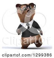 Clipart Of A 3d Happy Bespectacled Brown Business Bear Walking Royalty Free Illustration