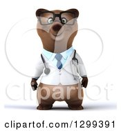 Clipart Of A 3d Happy Bespectacled Brown Bear Doctor Or Veterinarian Royalty Free Illustration by Julos