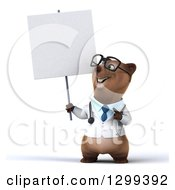 Clipart Of A 3d Happy Bespectacled Brown Bear Doctor Or Veterinarian Holding And Pointing To A Blank Sign Royalty Free Illustration
