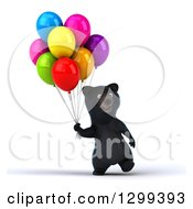 Clipart Of A 3d Happy Black Bear Walking With Party Balloons Royalty Free Illustration