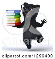 Clipart Of A 3d Happy Bespectacled Black Bear Jumping And Holding Books Royalty Free Illustration