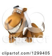 Clipart Of A 3d Arabian Camel Smiling Over A Sign Royalty Free Illustration