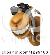 Clipart Of A 3d Arabian Camel Wearing Sunglasses And Smiling Around A Sign Royalty Free Illustration
