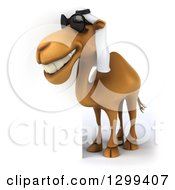 Clipart Of A 3d Arabian Camel Facing Left Wearing Sunglasses Around A Sign Royalty Free Illustration