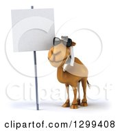 Clipart Of A 3d Arabian Camel Wearing Sunglasses By A Blank Sign Royalty Free Illustration