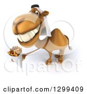 Clipart Of A 3d Arabian Camel Holding Up French Fries Royalty Free Illustration