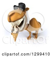 Clipart Of A 3d Arabian Camel Wearing Sunglasses Looking Up And Eating A Waffle Ice Cream Cone Royalty Free Illustration