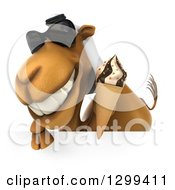 Clipart Of A 3d Arabian Camel Wearing Sunglasses Eating A Waffle Ice Cream Cone Over A Sign Royalty Free Illustration