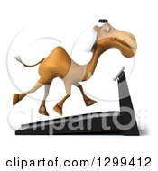 Clipart Of A 3d Arabian Camel Facing Right And Running On A Treadmill Royalty Free Illustration