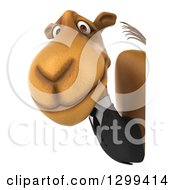 Clipart Of A 3d Business Camel Looking Around A Sign Royalty Free Illustration