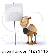 Clipart Of A 3d Business Camel By A Blank Sign Royalty Free Illustration