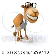 Clipart Of A 3d Bespectacled Business Camel Walking Royalty Free Illustration