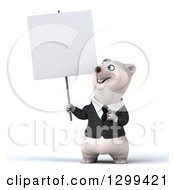 3d Happy Business Polar Bear Pointing To And Holding Up A Blank Sign