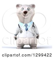 Clipart Of A 3d Happy Polar Bear Doctor Or Veterinarian Royalty Free Illustration by Julos