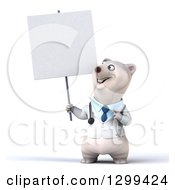 Clipart Of A 3d Happy Polar Bear Doctor Or Veterinarian Holding And Pointing To A Blank Sign Royalty Free Illustration