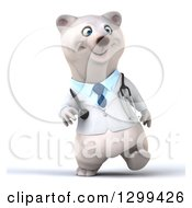 Clipart Of A 3d Happy Polar Bear Doctor Or Veterinarian Walking Royalty Free Illustration
