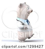 Clipart Of A 3d Happy Polar Bear Doctor Or Veterinarian Walking To The Right Royalty Free Illustration