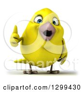 Clipart Of A 3d Happy Yellow Bird Giving A Thumb Up Royalty Free Illustration