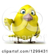 Clipart Of A 3d Yellow Bird Giving A Thumb Down Royalty Free Illustration