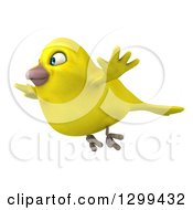 Clipart Of A 3d Happy Yellow Bird In Flight Royalty Free Illustration