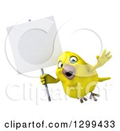 Clipart Of A 3d Happy Yellow Bird Flying With A Blank Sign Royalty Free Illustration