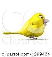 Clipart Of A 3d Happy Yellow Bird Walking To The Right Royalty Free Illustration
