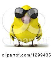 Clipart Of A 3d Happy Yellow Bird Wearing Sunglasses Royalty Free Illustration