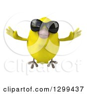 Clipart Of A 3d Happy Yellow Bird Wearing Sunglasses And Flying Royalty Free Illustration