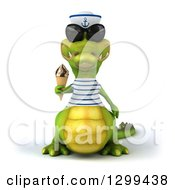 Clipart Of A 3d Sailor Crocodile Wearing Sunglasses And Holding A Waffle Ice Cream Cone Royalty Free Illustration