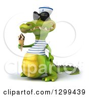 Clipart Of A 3d Sailor Crocodile Wearing Sunglasses Facing Left And Holding A Waffle Ice Cream Cone Royalty Free Illustration