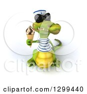 Clipart Of A 3d Sailor Crocodile Wearing Sunglasses And Holding Up A Waffle Ice Cream Cone Royalty Free Illustration