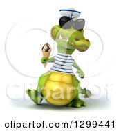Clipart Of A 3d Sailor Crocodile Wearing Sunglasses Walking And Holding A Waffle Ice Cream Cone Royalty Free Illustration