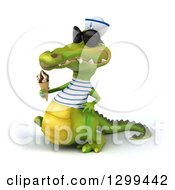 Clipart Of A 3d Sailor Crocodile Wearing Sunglasses Facing Left Walking And Holding A Waffle Ice Cream Cone Royalty Free Illustration