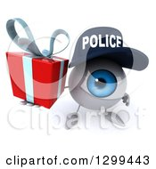 Clipart Of A 3d Blue Police Eyeball Character Holding Up A Gift Royalty Free Illustration