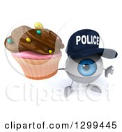 Clipart Of A 3d Blue Police Eyeball Character Holding Up A Chocolate Frosted Cupcake And Thumb Down Royalty Free Illustration