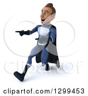 Clipart Of A 3d Young Indian Male Super Hero Dark Blue Suit Walking And Pointing To The Left Royalty Free Illustration