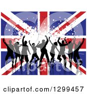 Clipart Of A Silhouetted Group Of Dancers Over White Grunge On A Union Jack Flag Royalty Free Vector Illustration