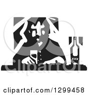 Clipart Of A Black And White Woodcut Lonely Man Drinking At A Bar Royalty Free Vector Illustration
