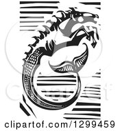 Clipart Of A Black And White Woodcut Hippocampus Fantasy Seahorse Royalty Free Vector Illustration