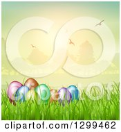 Clipart Of 3d Colorful Easter Eggs In Grass With A Park And Flying Birds At Sunset Royalty Free Vector Illustration