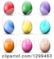 Clipart Of 3d Solid Colored Easter Eggs And Shadows On White Royalty Free Vector Illustration